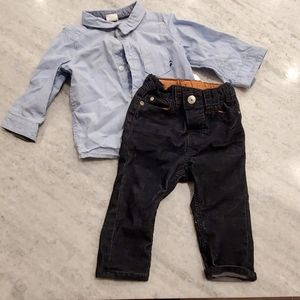 Boys Button down Shirt and Corduroy Pants Bundle